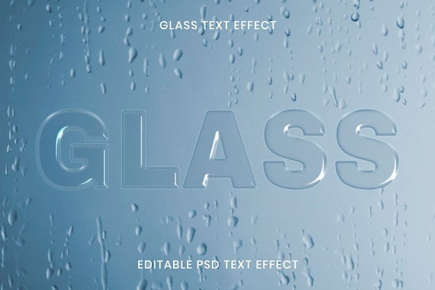 Glas teksteffect psd bewerkbare sjabloon