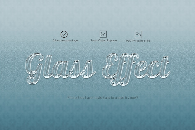 Glas teksteffect teksteffectstijl