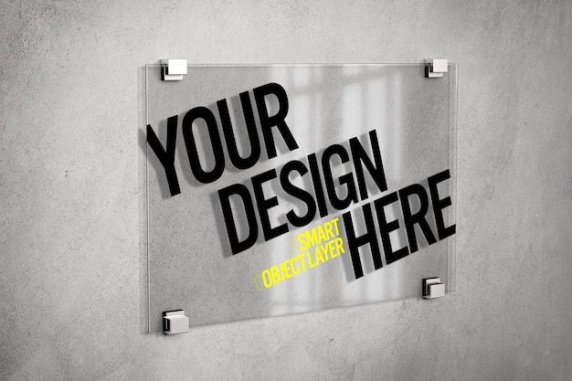 Glass sign on wall mockup