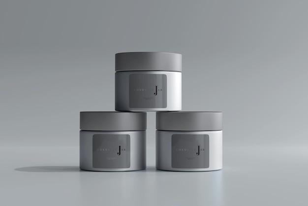 Glazen cosmetische potten mockup