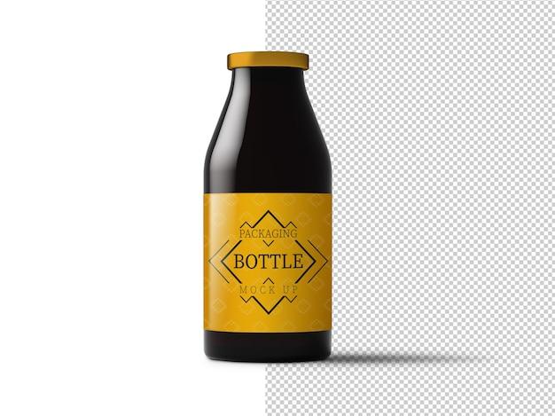 Glazen fles met mockup van label geïsoleerd
