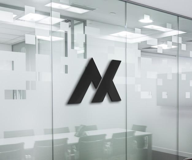 Glazen kantoor 3d-logo mockup