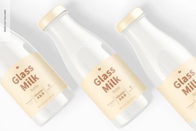 Glazen melkflessen mockup, close-up