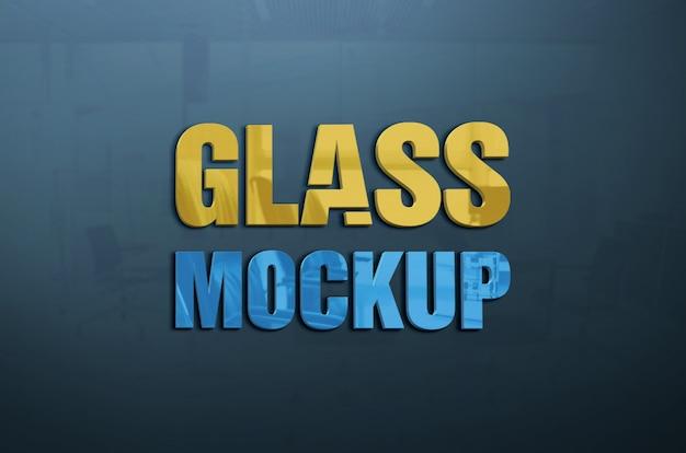 Glazen muur teksteffect stijl logo mockup