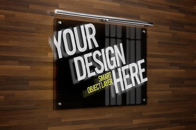 Glazen plaat voor logo mock up