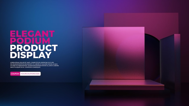 Glazen podium met kleurrijke lichtscne