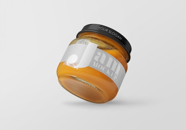 Glazen pot met perzik jam mockup