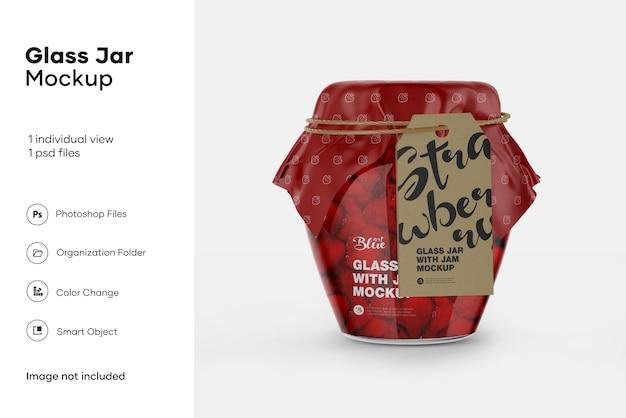 Glazen pot white jam mockup