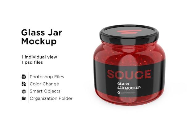 Glazen red hot sauce jar in shrink sleeve mockup