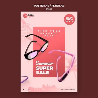 Glazen verkoop poster sjabloon