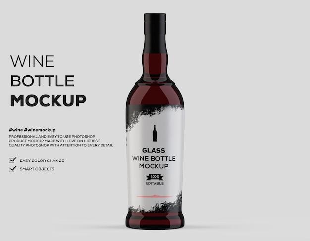 Glazen wijnfles mockup