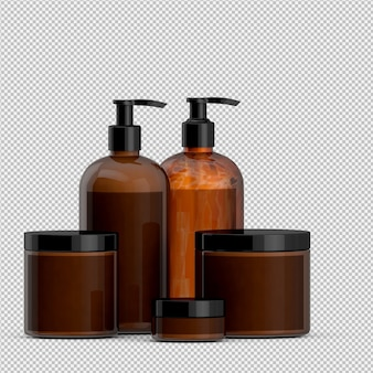 Gli accessori isometrici 3d del bagno isolati rendono