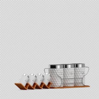 Gli accessori isometrici della cucina 3d rendono