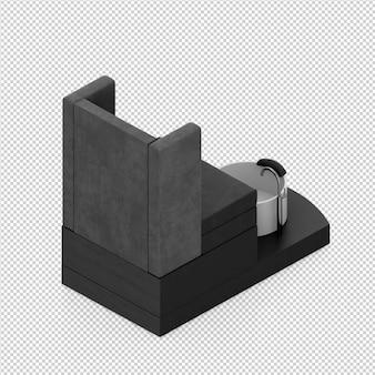 Gli accessori isometrici di bellezza 3d isolati rendono