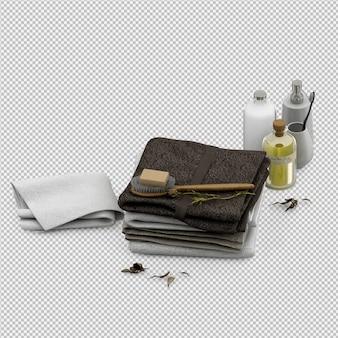 Gli asciugamani piegati con gli accessori 3d del bagno isolati rendono