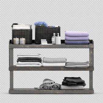 Gli asciugamani su uno scaffale di legno 3d isolati rendono