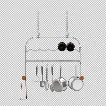 Gli utensili isometrici della cucina 3d rendono