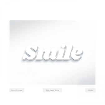 Glimlach wit 3d-tekststijleffect Premium Psd