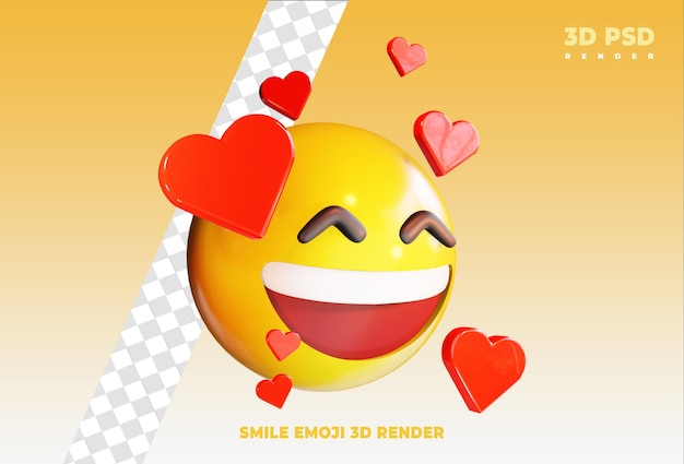 Glimlachen erg gelukkig emoji met liefde 3d render pictogram badge geïsoleerd
