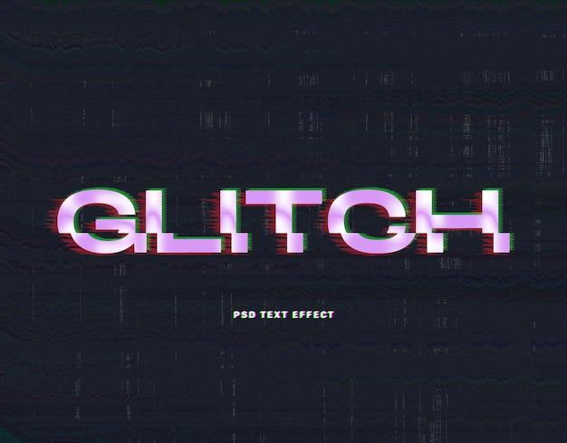 Glitch paars teksteffect sjabloon