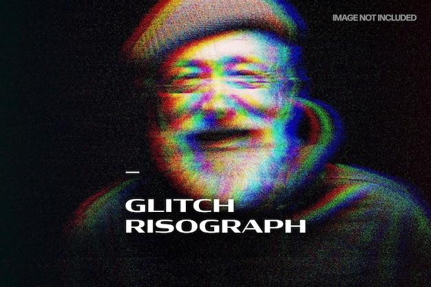 Glitch risograph foto-effect Premium Psd