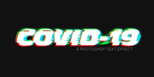 Glitch text effect covid-19