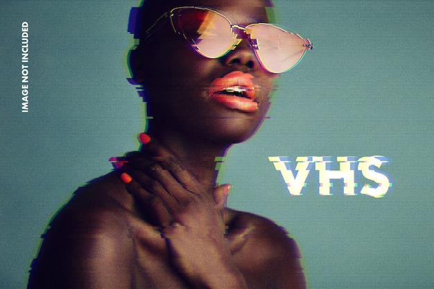 Glitch vhs foto-effect mockup