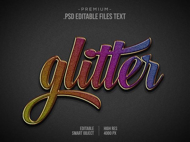 Glitter gouden teksteffect psd, elegant abstract mooi teksteffect instellen, 3d-tekststijl