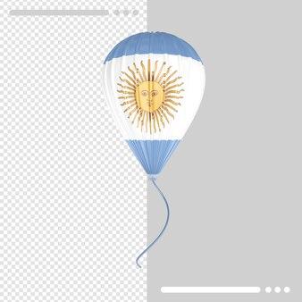 Globo y bandera argentina render 3d