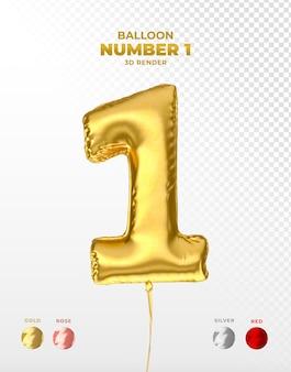 Globo de lámina de oro realista del número 1 cortado PSD Premium