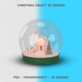 Globo de nieve de navidad, objeto de navidad 3d render