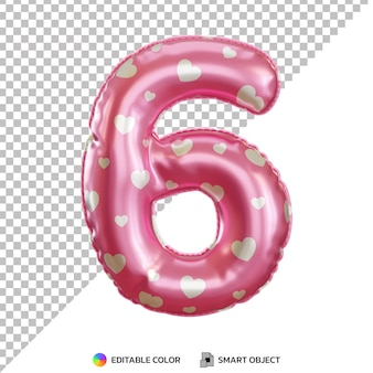 Globo de papel de helio rosa número 6 realista 3d