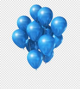 Globos azules flotando