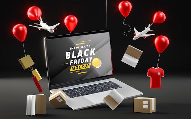 Globos emergentes con ventas sobre fondo negro