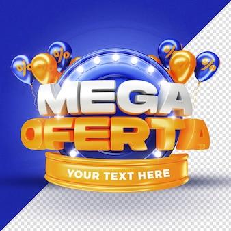 Globos de promoción de etiqueta de mega oferta azul 3d render para composición