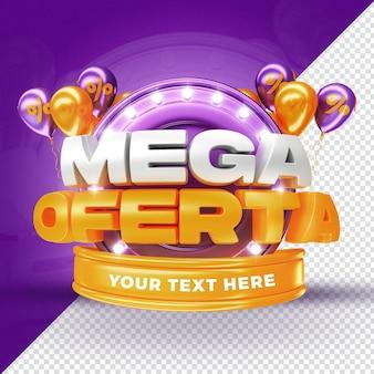 Globos de promoción de etiqueta de mega oferta púrpura render 3d para composición