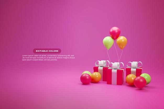 Globos y regalos sobre fondo rosa