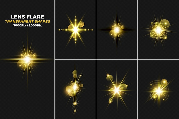 Gloeiende gouden lichte lensflare met fonkelingenachtergrond