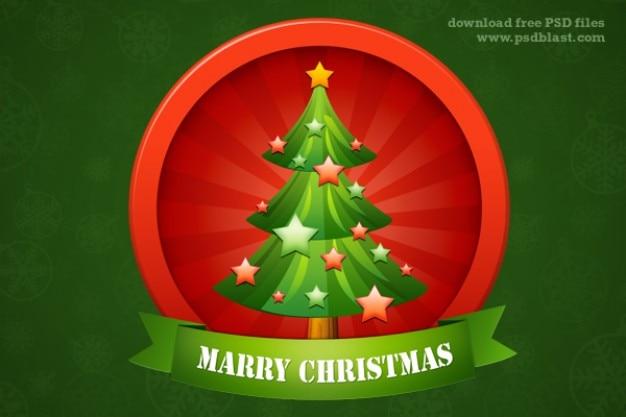 Glossy icona di albero di natale con le stelle