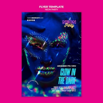 Glow in the dark partij flyer-sjabloon