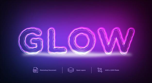 Glow lines teksteffect ontwerpsjabloon stijleffect