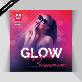 Glow nachtfeest flyer