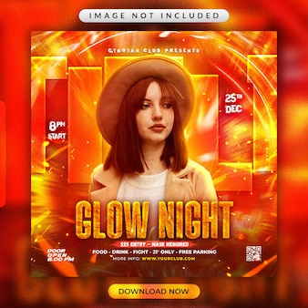 Glow night party flyer of social media promotional banner template