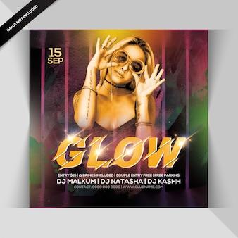 Glow night party uitnodiging of vierkante sjabloon folder