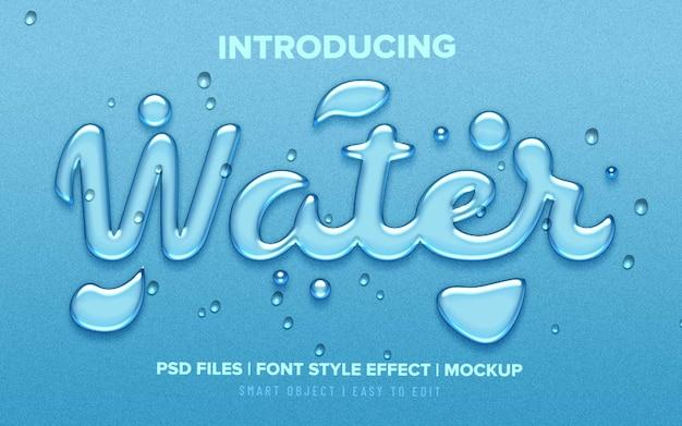 Gocce d'acqua realistiche effetto testo stile carattere