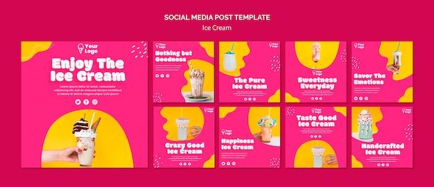 Goditi il post sui social media sui gelati