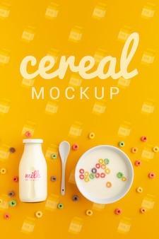 Goedemorgen ontbijt met ontbijtgranen en melk