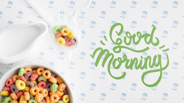 Goedemorgenbericht naast ontbijtgranen voor het ontbijt