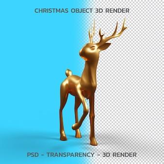 Gold deer., objeto de navidad 3d render