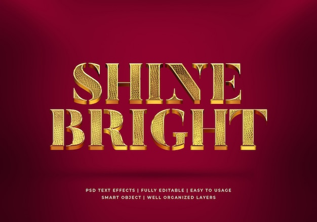 Gold shine bright 3d tekststijl effect sjabloon
